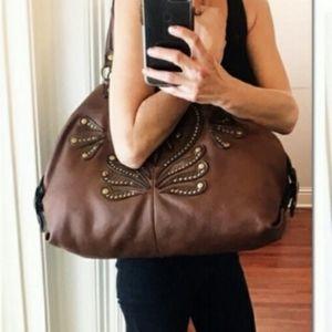 Gianni Bini Large Brown Leather Shoulder Tote